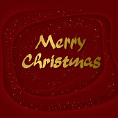 Shining realistic 3D golden inscription Merry christmas with waves on red background. Template great for design New year and Merry Christmas posters, holiday card, banner, header for website. Vector