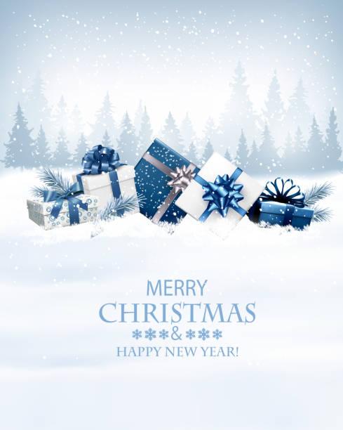 frohe weihnachten hintergrund mit 2018 und geschenkboxen. vektor - weihnachtsgeschenk stock-grafiken, -clipart, -cartoons und -symbole