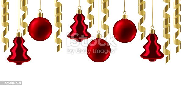 istock Merry Christmas background with balls and serpentine. Happy New Year celebration. 1330957801