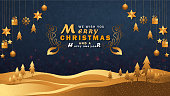 Merry Christmas  background with blue and gold color