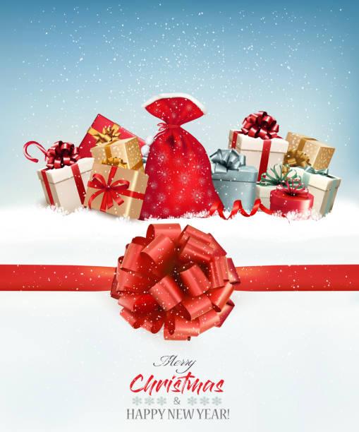 frohe weihnachten hintergrund mit zweigen des baumes und geschenk-boxen. vektor - weihnachtsgeschenk stock-grafiken, -clipart, -cartoons und -symbole