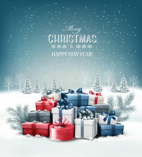 illustrazioni stock, clip art, cartoni animati e icone di tendenza di merry christmas background with branches of tree. vector - regalo natale