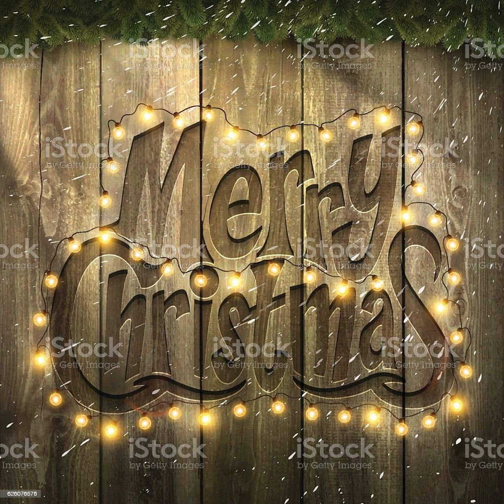 Merry Christmas Background with Christmas lights, snow, on wooden Wall vector art illustration