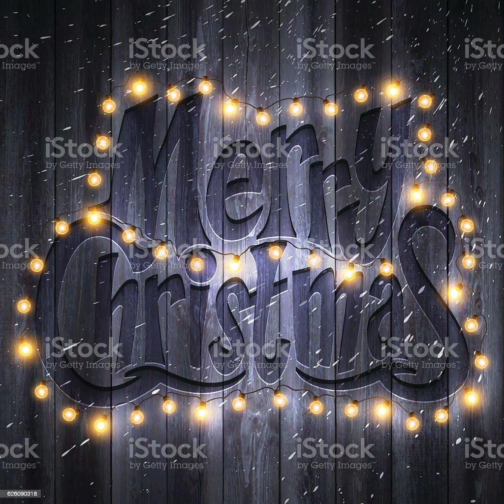 Merry Christmas Background With Lights Snow On Wooden Wall Royalty Free Stock