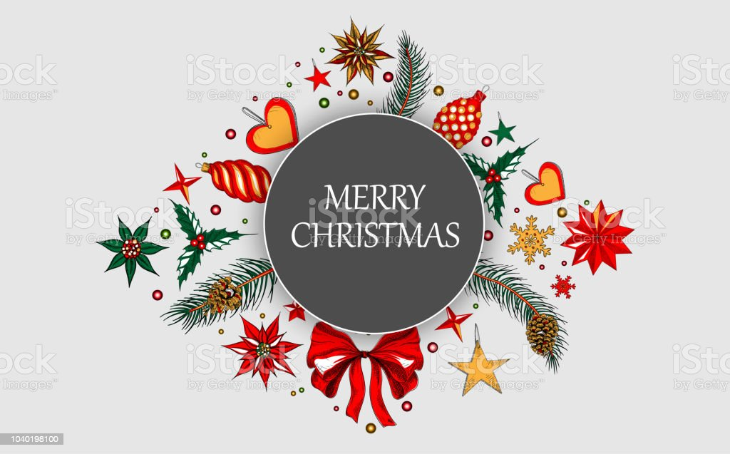 Merry Christmas Background.Merry Christmas Background With Colorful Decoration Stock Illustration Download Image Now