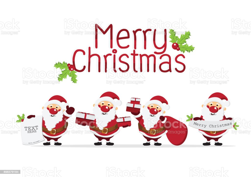 Merry Christmas Background With Cute Santa Claus
