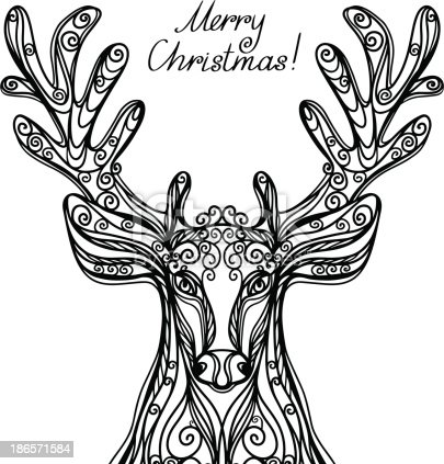 Merry Christmas Background With Deer In Black And White Stock Vector Art More Images Of Abstract 186571584