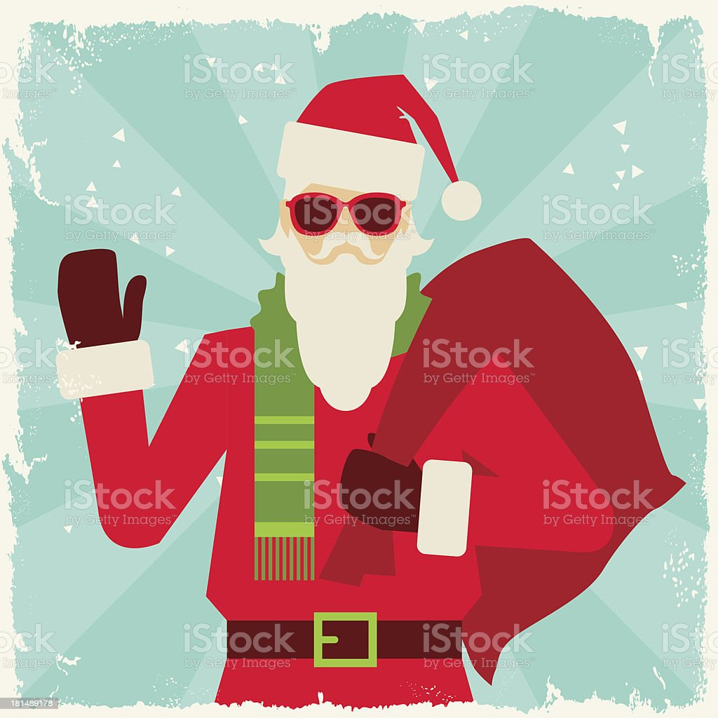 Merry Christmas Background With Santa In Hipster Style Royalty Free