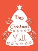 Merry Christmas background with tree and decorative text. Vector red greeting card