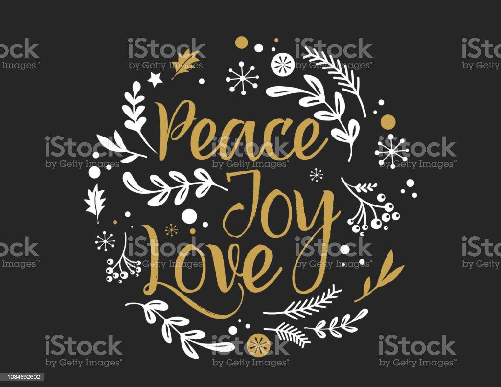 Fondo feliz Navidad con tipografía, Lettering. Tarjeta de felicitación - paz, alegría, amor - stock vector ilustración de fondo feliz navidad con tipografía lettering tarjeta de felicitación paz alegría amor stock vector y más vectores libres de derechos de acebo libre de derechos