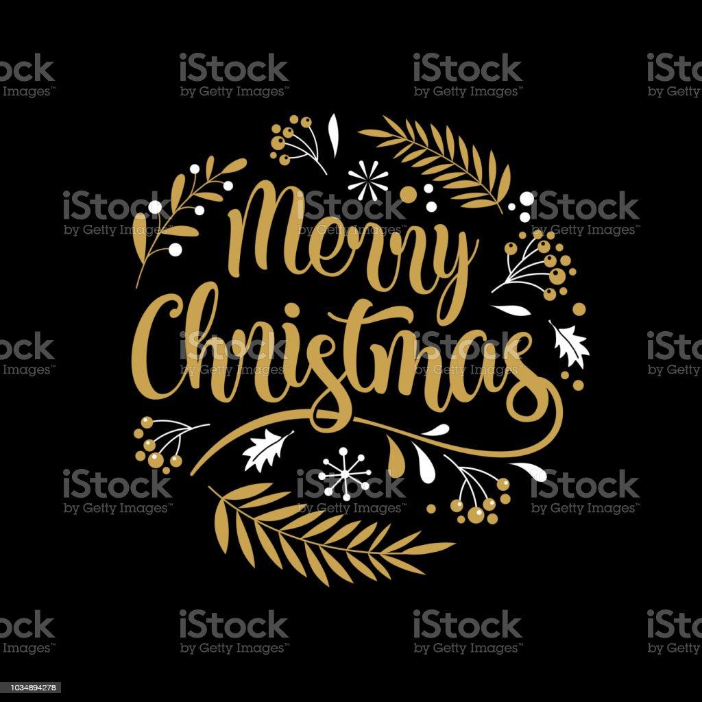 Merry Christmas achtergrond met typografie, belettering. Wenskaart, spandoek en postervectorkunst illustratie