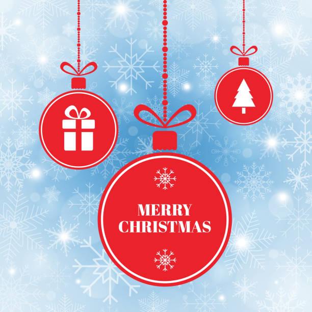 bildbanksillustrationer, clip art samt tecknat material och ikoner med merry christmas bollar på blå bakgrund med snö och snöflingor. nytt år julkort. ljusa röda xmas bollar med chtistmas träd, nutid, snöflingor och menyfliksområdet. vektorillustration - julkulor