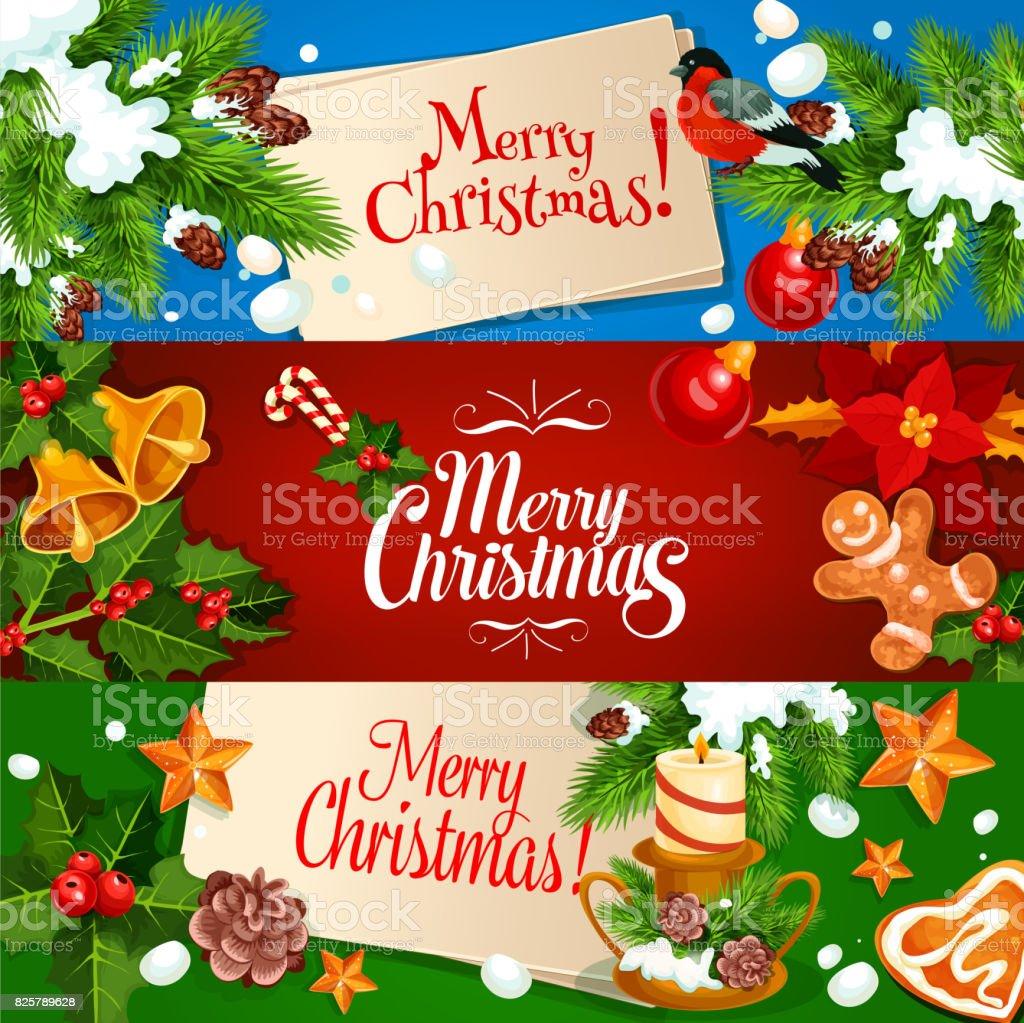 Vetor De Feliz Natal Banner E Cartão Conjunto E Mais Banco De