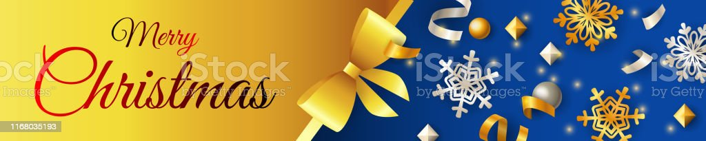 Merry Christmas banner design with shining snowflakes on golden and...