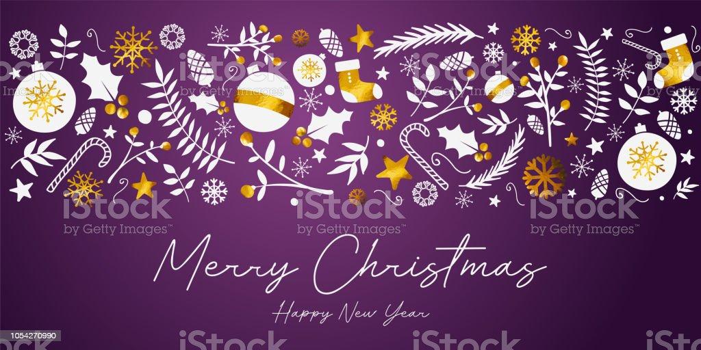 merry christmas banner golden ornament card on dark purple