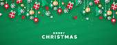 Merry Christmas web banner illustration of holiday paper art icons on festive green background.