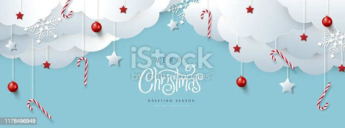 istock Merry Christmas banner or party invitation background .Merry Christmas vector text Calligraphic Lettering Vector illustration. 1178496949