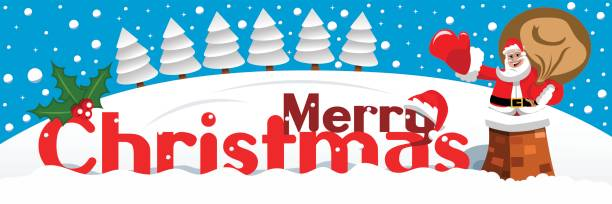frohe weihnachten-banner weihnachtsmann schornstein verschneite landschaft - kaminverkleidungen stock-grafiken, -clipart, -cartoons und -symbole