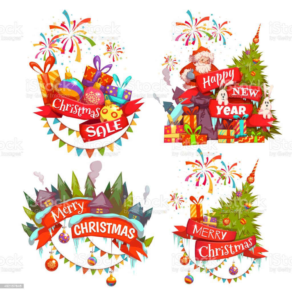 Merry Christmas Ribbon Clipart.Merry Christmas Banner Set With Santa Claus Ribbon And Pine