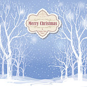 Merry Christmas banner. Snow forest landscape.