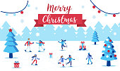 Active people skating on winter holidays. Flat  vector illustration isolated on white background.