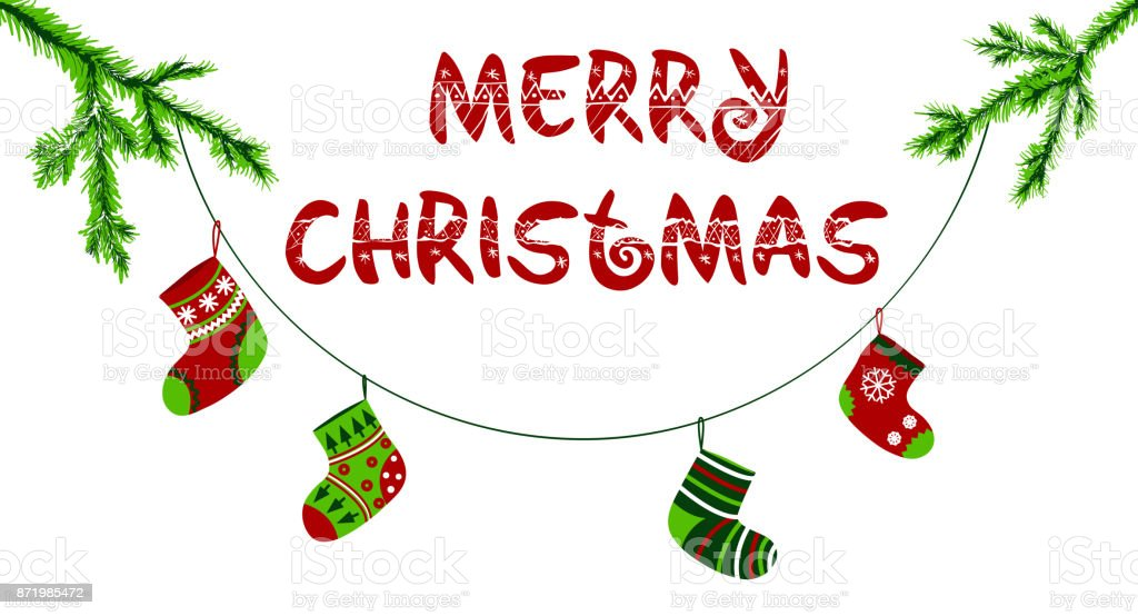 Merry christmas banner, Decorative lettering, Christmas tree branches...