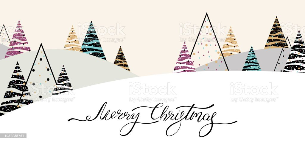 merry christmas banner with abstract christmas trees and winter landscape royalty free merry christmas - Merry Christmas Banner