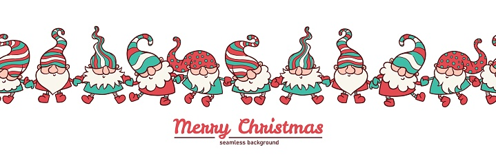Merry Christmas banner with cute dancing gnomes cartoon vector illustration.