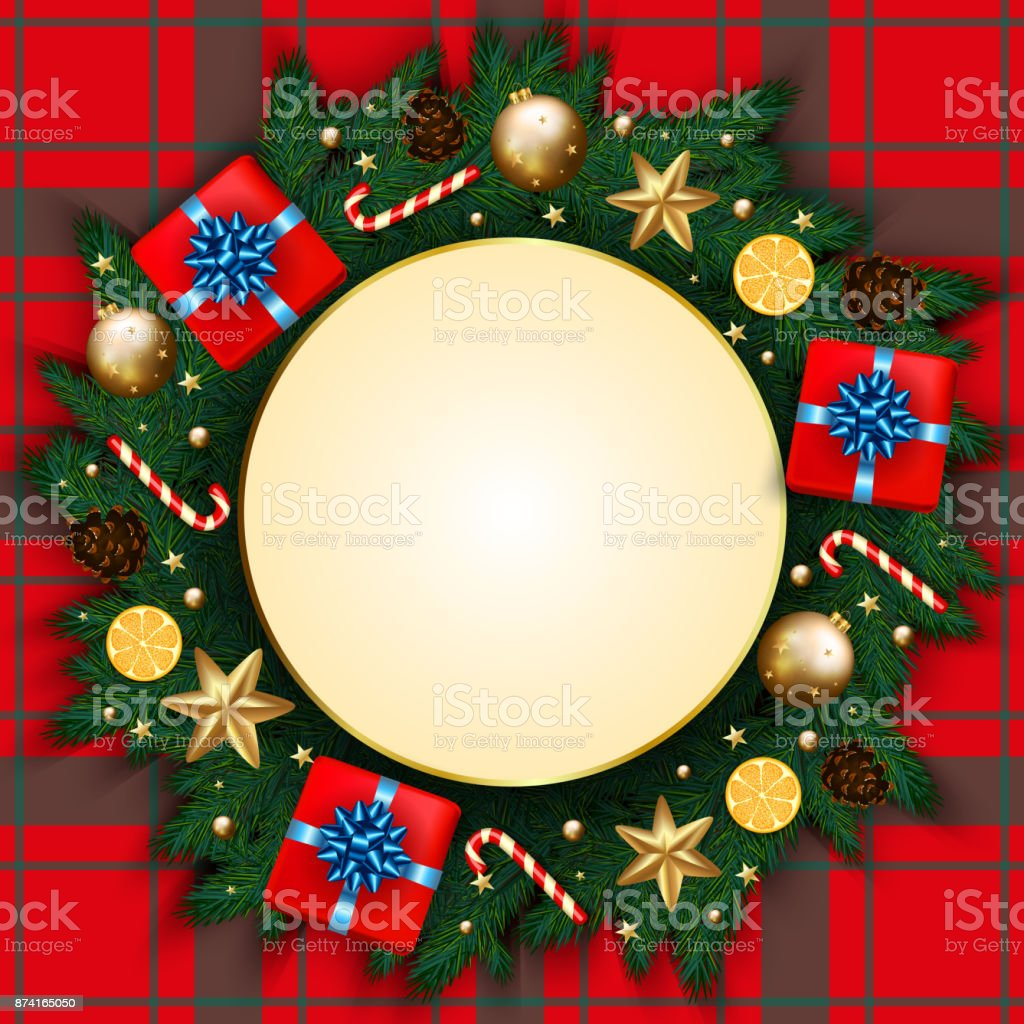 Merry Christmas Banner With Gift Box Pine Branches Decorated Gold