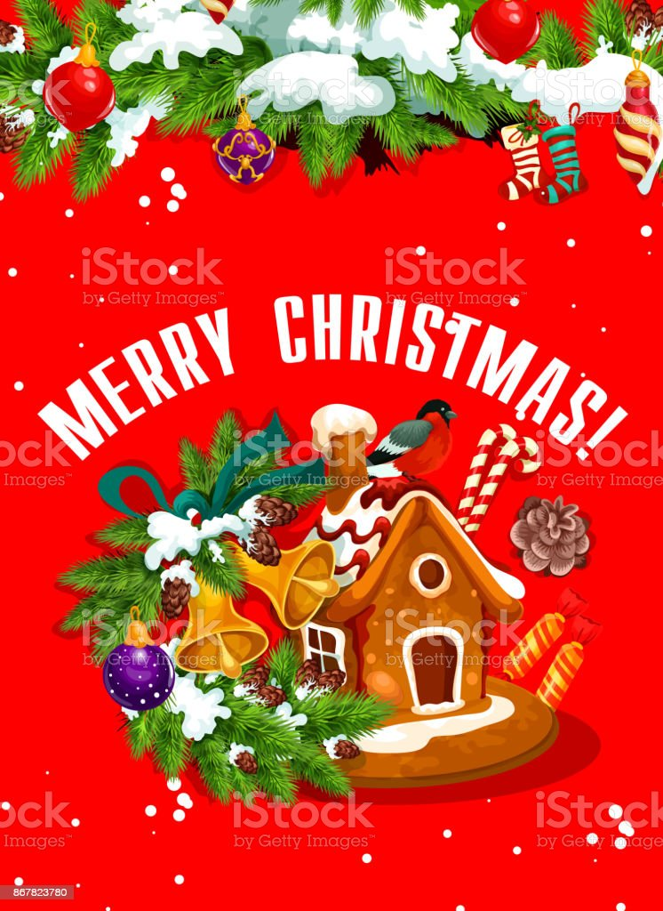 merry christmas banner with gingerbread house stock vector art