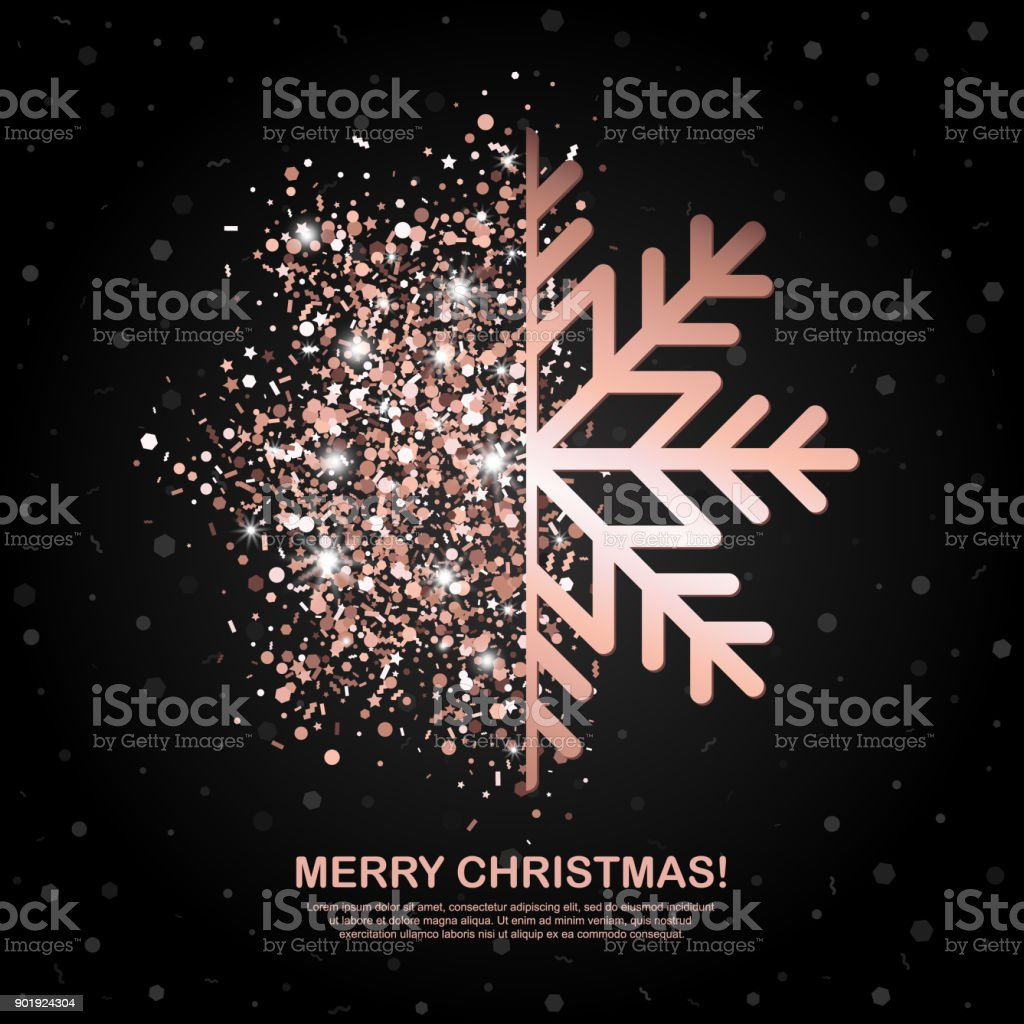 Merry Christmas Banner With Rose Gold Glowing Snowflake On Black Geometric Background Vector Illustration