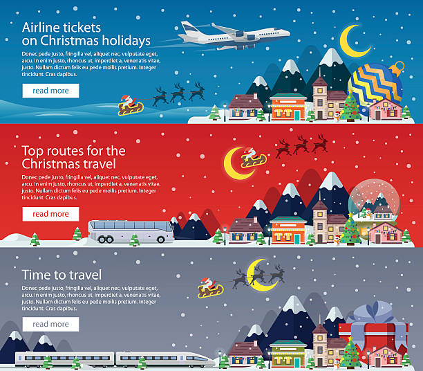 Merry Christmas banners in flat style. The winter holiday. vector art illustration