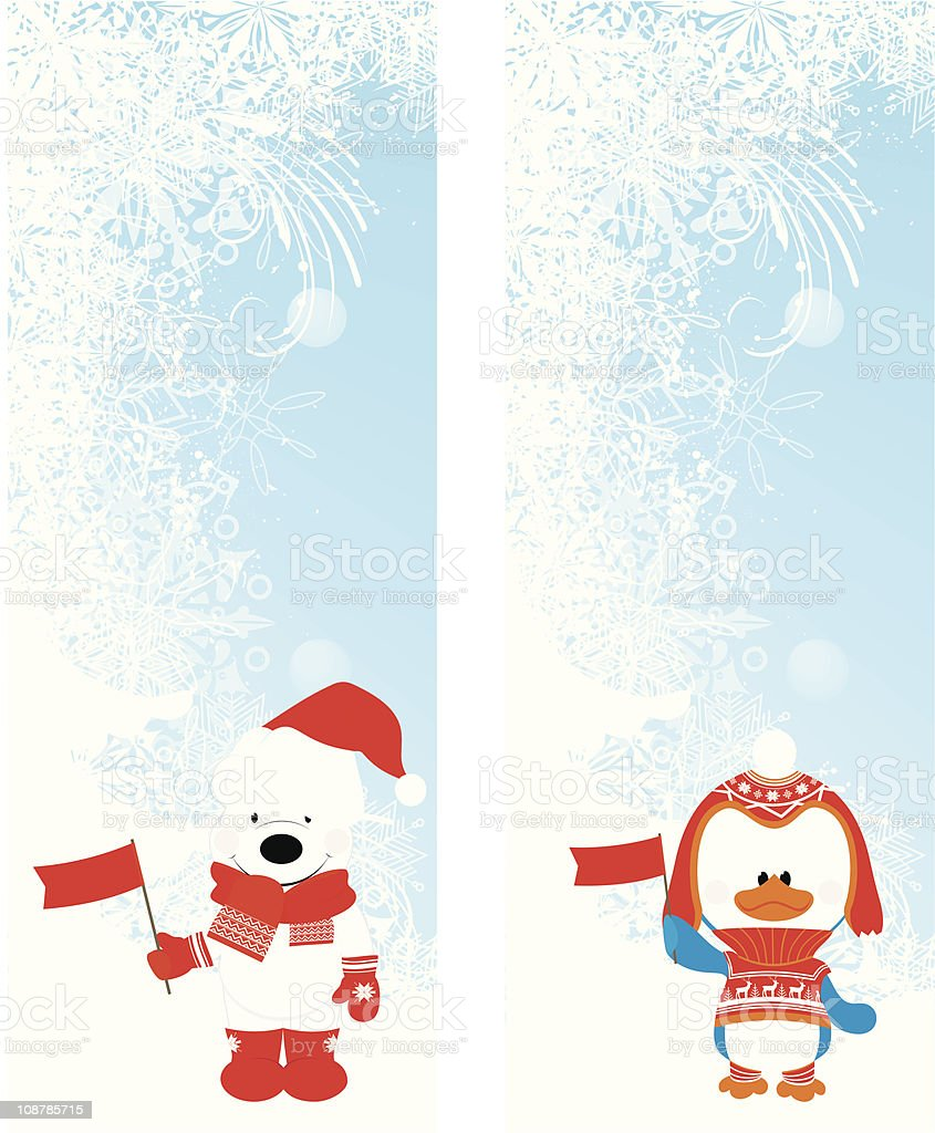 merry christmas banners set vector art illustration