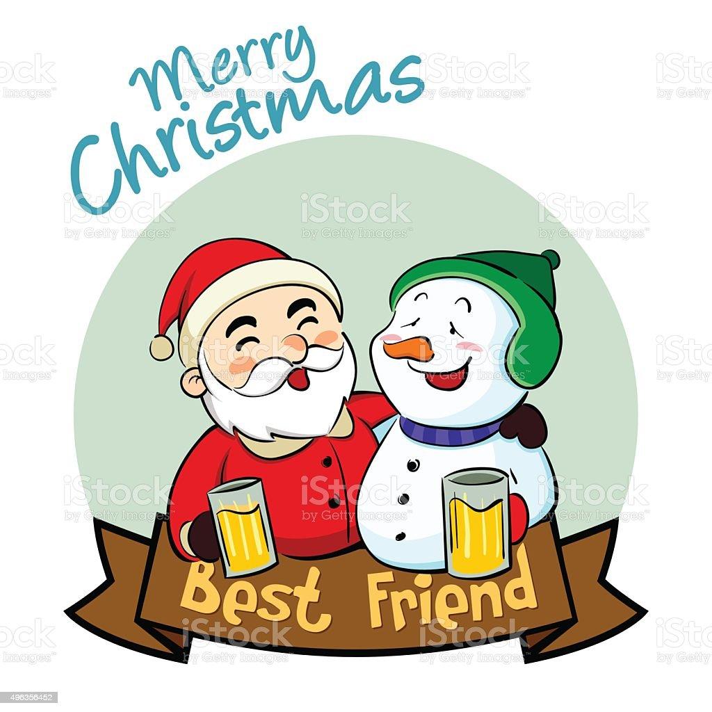 Frohe Weihnachten Besten Freund Vektor Illustration 496356452 | iStock
