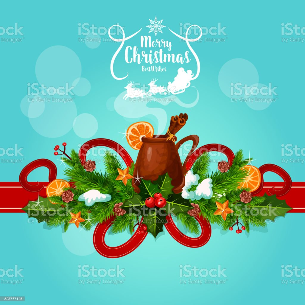 Merry Christmas Best Wishes Mulled Wine Greeting Stock Vector Art