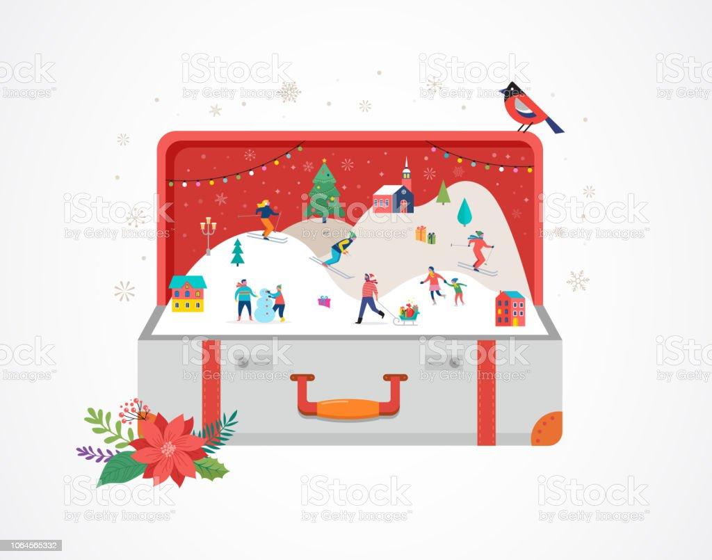 Frohe Weihnachten Männer Bilder.Frohe Weihnachten Große öffnen Koffer Mit Winterszene Und Kleine