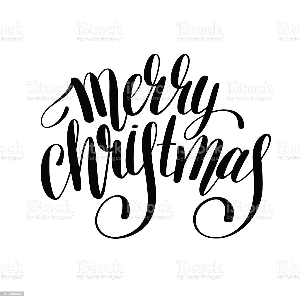 Merry Christmas Images Black And White.Merry Christmas Black And White Handwritten Lettering