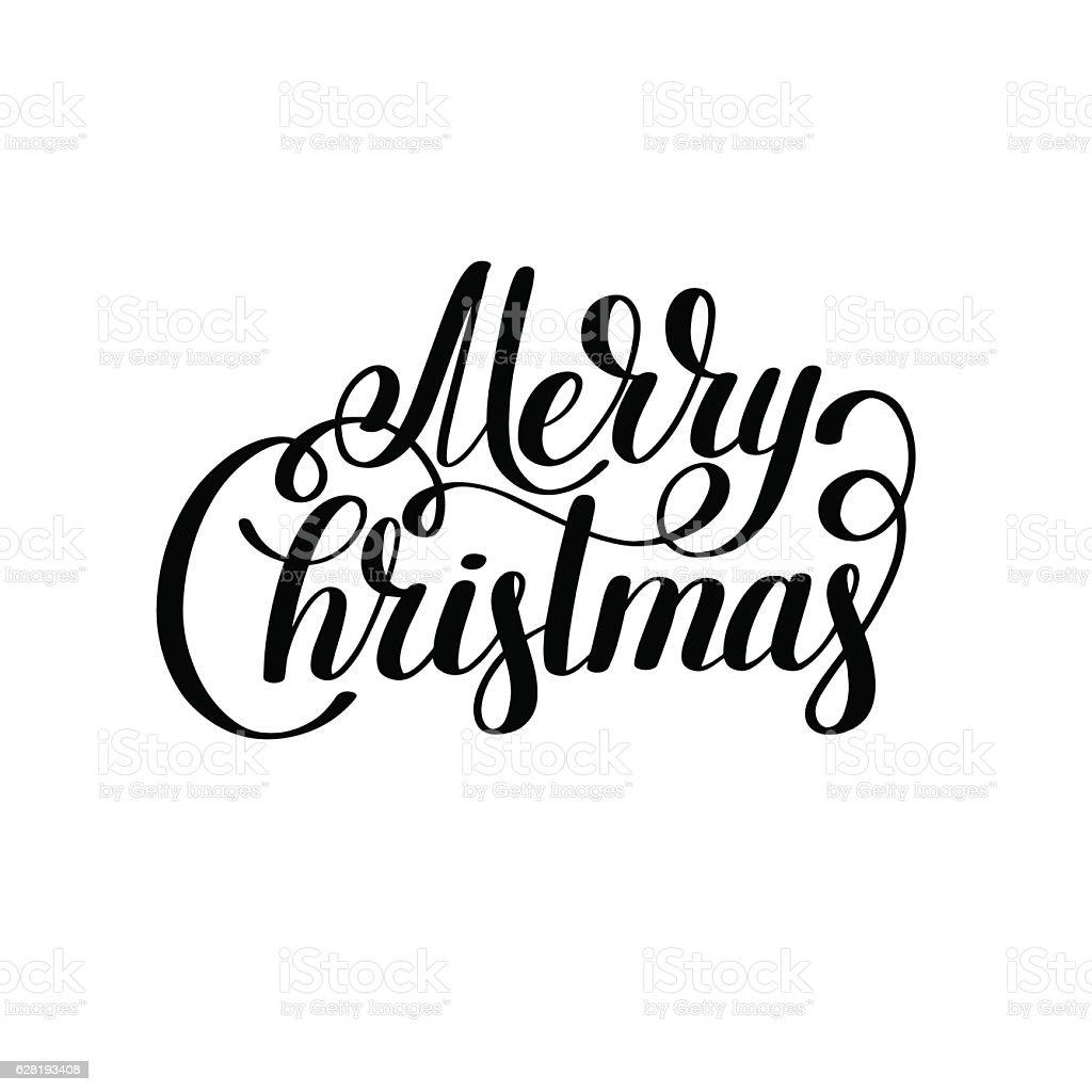 Merry Christmas Black And White Handwritten Lettering Inscriptio