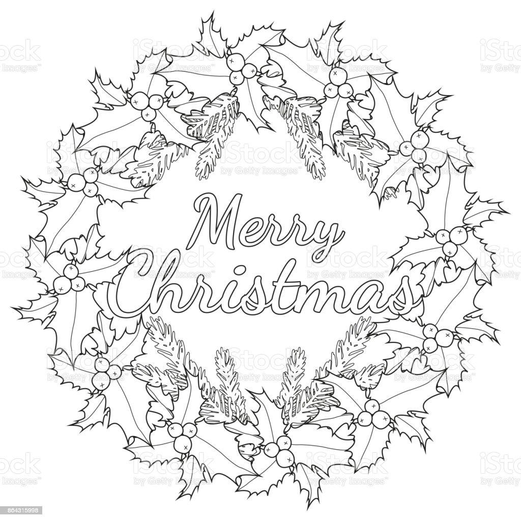 Joyeux Affiche De Noël Noir Et Blanc Avec Des Baies De Houx
