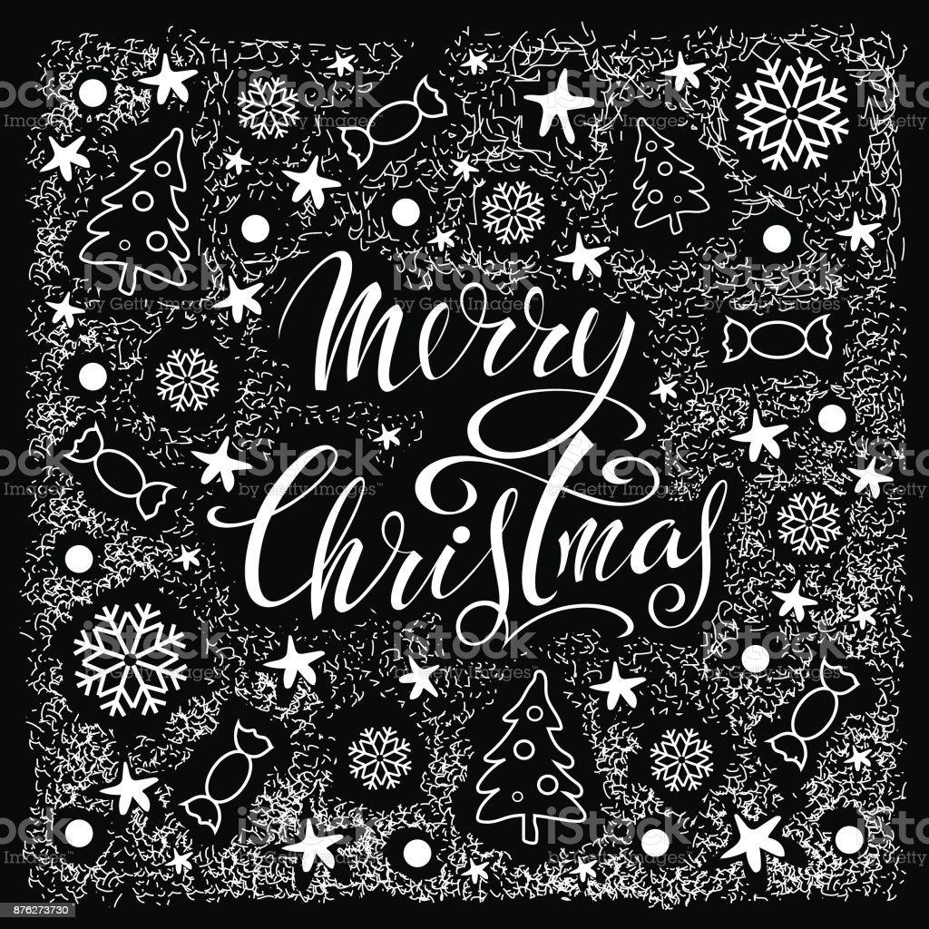 Frohe Weihnachten. Schwarz / Weiß-Vektor-Illustration. Schriftzug. Glückwunsch-Poster. – Vektorgrafik