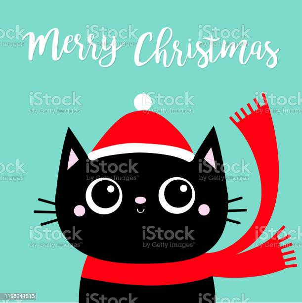 Merry christmas black cat kitten head face red hat scarf cute funny vector id1198241813?b=1&k=6&m=1198241813&s=612x612&h=1yld4fyt4orxz4ytemzxits9 qnyzh0t6ysfw8rc ri=