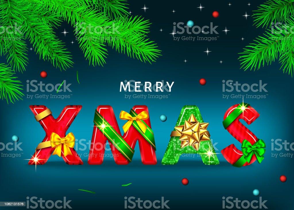 Frohe Weihnachten Blau Hintergrund Mit Dekorativen Buchstaben Mit ...