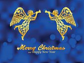 Merry Christmas blue background with golden angels