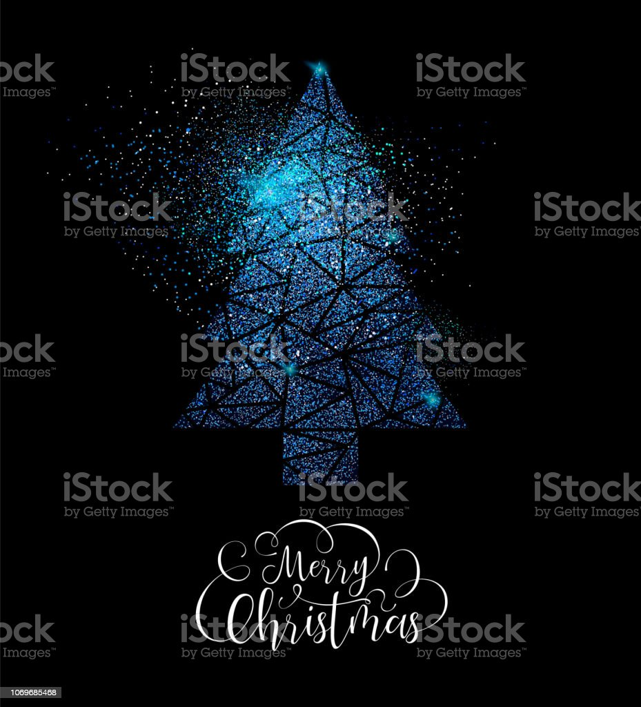 Frohe Weihnachten Glitzer.Frohe Weihnachten Blau Glitzer Kiefer Baum Form Karte Stock