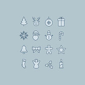 merry christmas blue icons