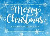 Merry Christmas - Blue White Background Horizontal Banner