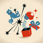 Merry Christmas Cartoon Characters Design, Full Length Vector art illustration.