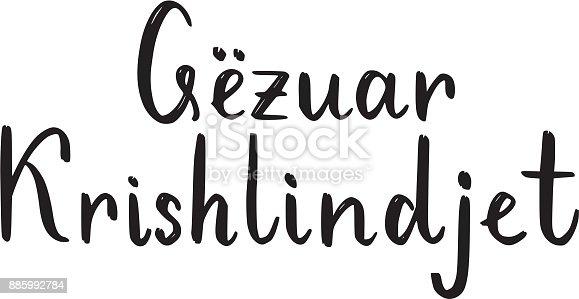Frohe Weihnachten Albanisch.Frohe Weihnachtenpinsel Schriftzug Auf Albanisch Stock Vektor Art