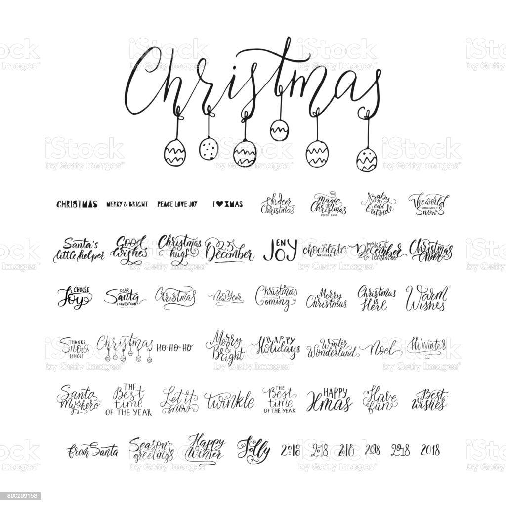 Frohe Weihnachten Schrift.Frohe Weihnachten Pinsel Schrift Typografie 50 Winter Vektor
