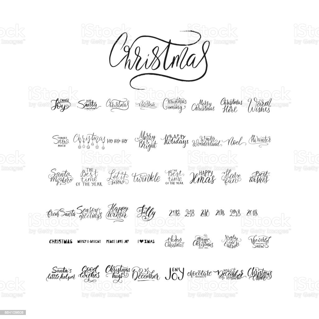 Merry Christmas brush lettering typography. 50 winter vector handdrawn lettering royalty-free merry christmas brush lettering typography 50 winter vector handdrawn lettering stock vector art & more images of animal-powered vehicle